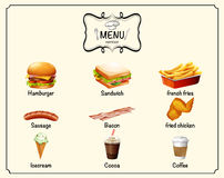 Different kind of fastfood on menu Royalty Free Stock Photography
