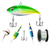 Different kind of fishing equipments Stock Images