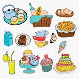 Different kind of food and dessert doodle style Stock Photography