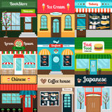 Different kind of food restaurants facade Royalty Free Stock Photos