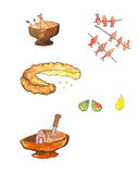 Different kind of food - watercolor illustration Stock Images