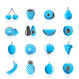 Different kind of fruit and icons Royalty Free Stock Photo