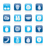 Different kind of fruit and icons Stock Photos