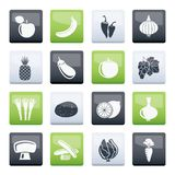 Different kind of fruit and vegetables icons over color background. Vector icon set vector illustration