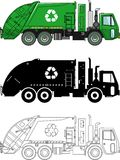 Different kind garbage trucks  on white background in flat style: colored, black silhouette and contour. Vector Stock Images