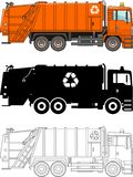 Different kind garbage trucks  on white background in flat style: colored, black silhouette and contour. Vector Royalty Free Stock Photos