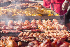 Different kind on grilled meat and sausages with smoke and steam Stock Photos