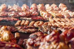 Different kind on grilled meat and sausages with smoke and steam Stock Images