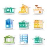Different kind of houses and buildings. Vector Illustration 1 Stock Image