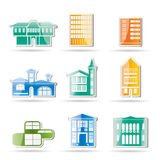 Different kind of houses and buildings. Vector Illustration 2 Royalty Free Stock Image