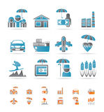 Different kind of insurance and risk icons Stock Images