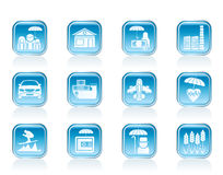 Different kind of insurance and risk icons Stock Photos