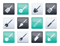 Different kind of kitchen accessories and equipment icons over color background royalty free stock photography