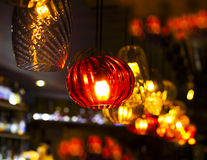 Different kind of light decoration in the bar. With blured background Royalty Free Stock Photography