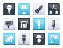 Different kind of lighting equipment over color background. Vector icon set stock illustration
