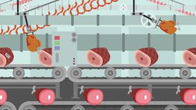 Different kind of Meat on a Factory Conveyor Cartoon Style