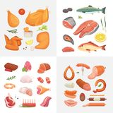Different kind of meat food icons set vector. Raw ham, set grill chiken, piece of pork, meatloaf, whole leg, beef and. Sausages. Salmon fish and seafood vector illustration