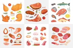 Different kind of meat food icons set vector. Raw ham, set grill chiken, piece of pork, meatloaf, whole leg, beef and. Sausages. Salmon fish and seafood stock illustration