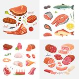 Different kind of meat food icons set vector. Raw ham, set grill chiken, piece of pork, meatloaf, whole leg, beef and. Sausages. Salmon fish and seafood royalty free illustration