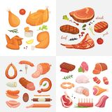 Different kind of meat food icons set vector. Raw ham, set grill chiken, piece of pork, meatloaf, whole leg, beef and. Sausages vector illustration