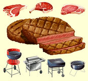 Different kind of meat and grill equipment Stock Photo