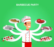Different kind of meat on the grill illustration. Different kind of meat on the grill with chef character. picnic or Bbq party. Food and barbeque, summer and royalty free illustration