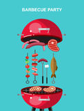 Different kind of meat on the grill illustration. Picnic or Bbq party. Food and barbeque, summer and grill. Vector barbeque party, illustration barbeque party stock illustration