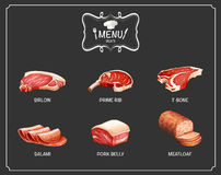 Different kind of meat on menu Stock Image