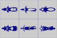 Different kind motorcycle icon set. Cruiser, police, scooter, enduro, classic, sport type  motorcycles icon set Stock Image