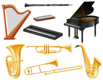Different kind of musical instruments Royalty Free Stock Image