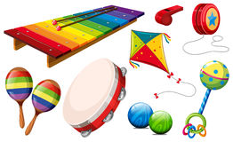Different kind of musical instruments and toys Royalty Free Stock Photography