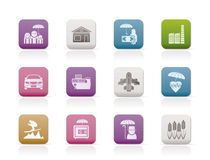Different Kind Of Insurance And Risk Icons Royalty Free Stock Photography