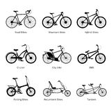 Different kind os bicycles, black and white silhouettes set. Vector modern illustration and design element on white background Royalty Free Stock Images