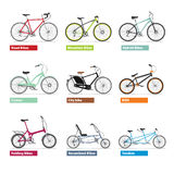 Different kind os bicycles, colour silhouettes set. Stock Photo