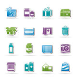 Different kind of package icons Stock Photos