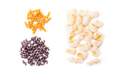 Different kind of pasta isolated on white background. Pasta alternative black bean pasta on white background stock image