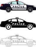 Different kind police cars isolated on white background in flat style: colored, black silhouette and contour. Vector Royalty Free Stock Photos