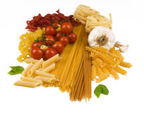 Different kind of raw pasta Royalty Free Stock Photo