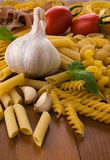 Different kind of raw pasta Stock Photo