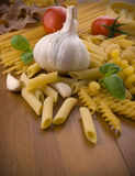 Different kind of raw pasta Royalty Free Stock Images
