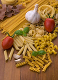 Different kind of raw pasta Stock Images