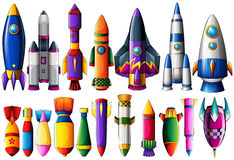 Different kind of rocket ships and bombs. Illustration vector illustration