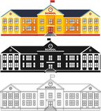 Different kind school building isolated on white background in flat style: colored, black silhouette and contour. Vector. Royalty Free Stock Image