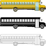 Different kind school bus  on white background in flat style: colored, black silhouette and contour. Vector Stock Images