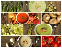 Different kind of soup on a wooden background Royalty Free Stock Image