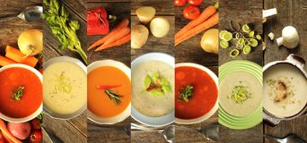 Different kind of soup on a wooden background Stock Photo