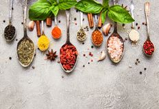 Different kind of spices in vintage spoons. On a gray stone background Stock Photo