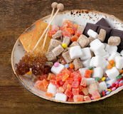 Different kind of sugar, candies and cookies. Stock Photography