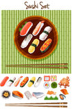 Different kind of sushi roll Stock Photography