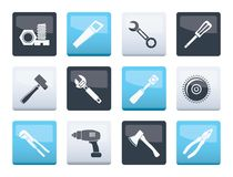 Different kind of tools icons over color background. Vector icon set royalty free illustration